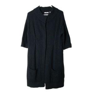 Vince black alpaca wool cashmere sweater cardigan